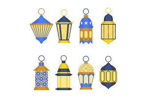 Ramadan Lanterns Set. Vector