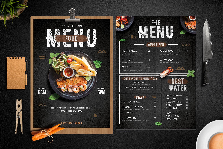 Modern food menu flyer templates creative market for Bar 88 food menu