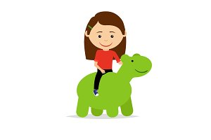 Girl sitting on green dinosaur toy