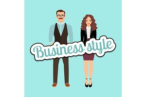 Fashion couple in business style clothing