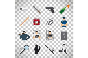 Crime icons set on transparent background