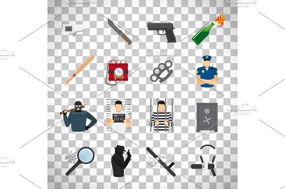 Crime Icons Set On Transparent Background