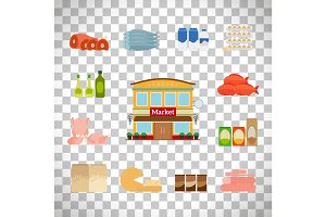 Grocery icons set on transparent background