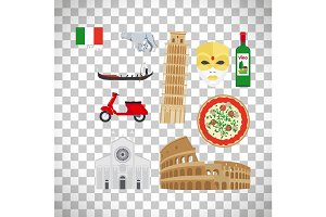 Italy icons set on transparent background