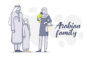 Arabian family with children