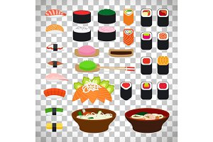 Japanese food icons on transparent background