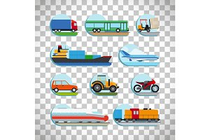 Transportation icons on transparent background