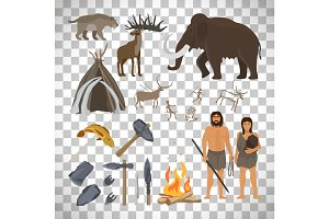 Stone age icons on transparent background