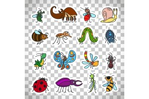 Funny insects stickers on transparent background