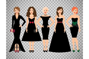 Young women in different black dresses