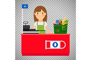 Cashier lady on transparent background