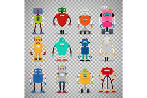 Cute robots set on transparent background