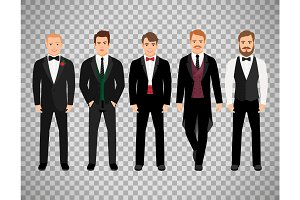 Fashion business men on transparent background