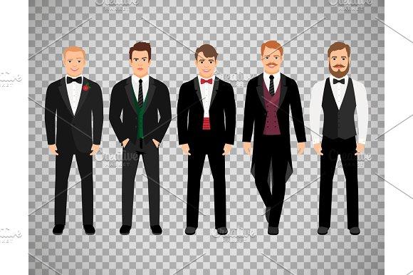 Fashion Business Men On Transparent Background
