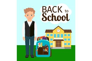 Boy with backpack standing before school