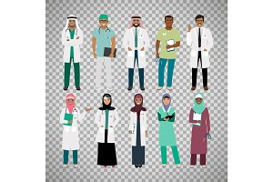 Muslims healthcare staff on transparent background