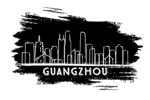 Guangzhou China Skyline Silhouette.