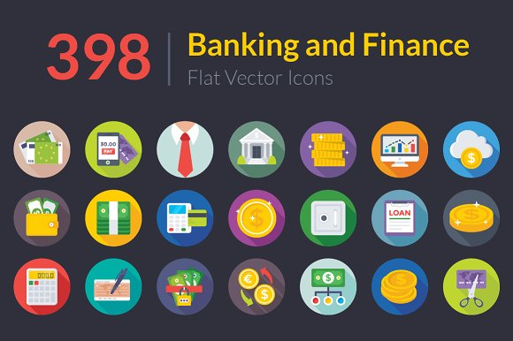 398 Banking And Finance Flat Icons