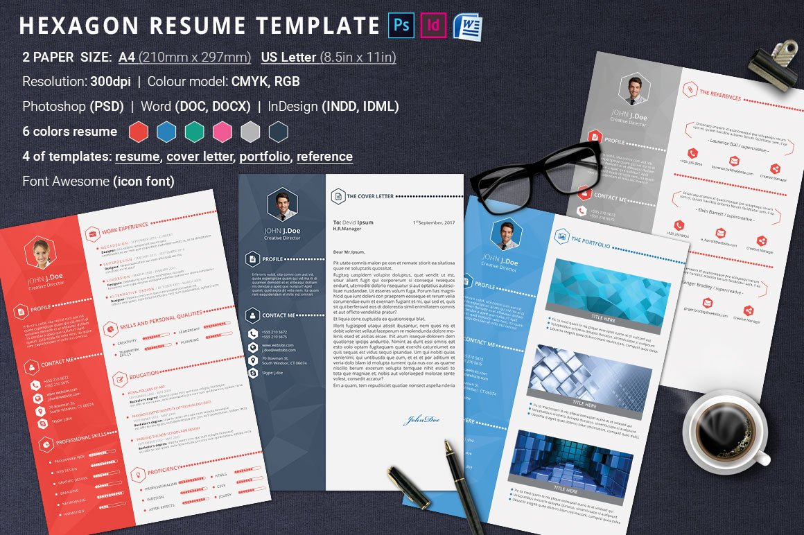 Job Titles For Resume Pdf Resume Template Hexagon  Resume Templates  Creative Market Skill Examples For Resume Pdf with What Is A Resume Cv Pdf  Making Resume Online Word