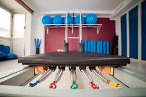 Close-up of a reformer bed for pilates training