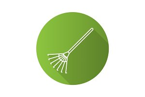 Rake flat linear long shadow icon