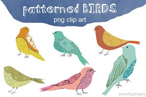 patterned birds clip art