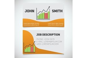 Business card print template with income growth chart logo