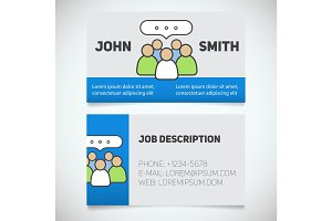 Business card print template with teamwork logo