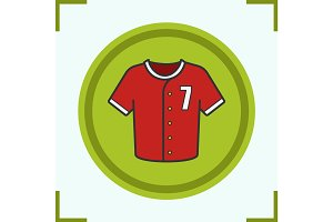 Baseball player's t-shirt color icon