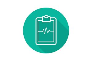 Clipboard cardiogram flat linear long shadow icon