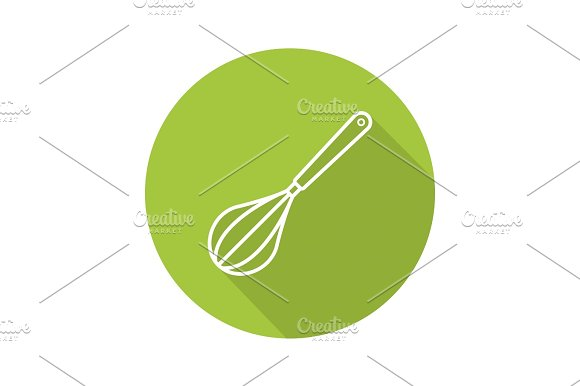 Whisk Flat Linear Long Shadow Icon