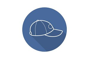Baseball cap flat linear long shadow icon