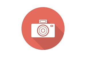 Photo camera flat design long shadow glyph icon