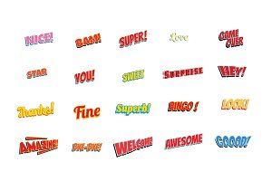 cartoon words label set isolated on a white background