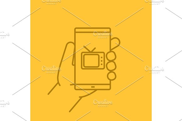 Hand Holding Smartphone Linear Icon