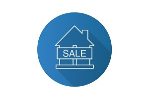 House for sale flat linear long shadow icon