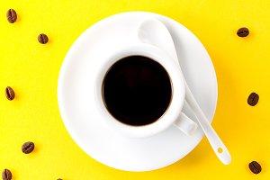 Tasty black coffee espresso top view