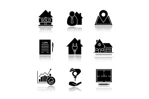 Real estate market. Drop shadow black glyph icons set.