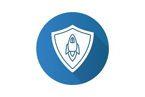 Startup projects protection. Flat design long shadow glyph icon