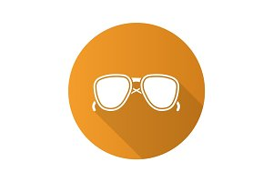 Sunglasses flat design long shadow glyph icon