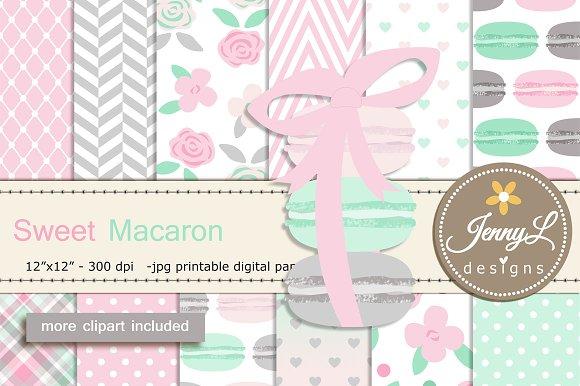 Macaron Digital Paper Clipart