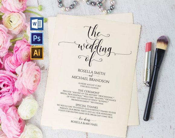 Wedding Program Template Wpc233