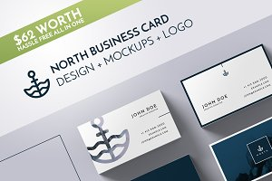 North Business Card Template Mockup