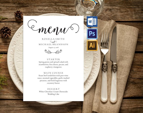wedding menu template wpc235 invitation templates creative market