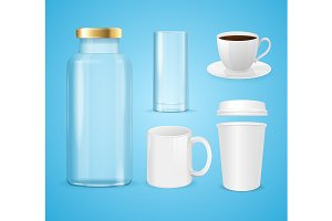 Realistic Cup, Can and Bottle Set