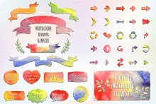Watercolor Elements Set