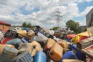 dump industrial waste - Heaps of plastic debris