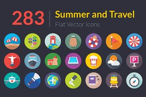 283 Summer and Travel Flat Icons