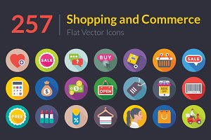 257 Shopping and Commerce Flat Icons