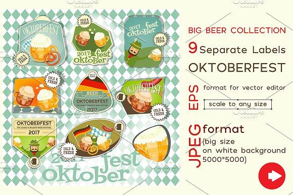 Oktoberfest Beer Festival Labels Set